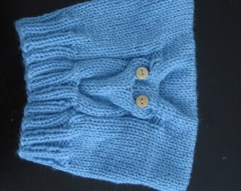 Light Blue Hand Knitted Baby/Toddler Owl Hat. Winter Hat. Ready to Ship