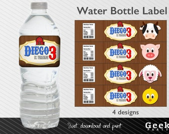 Farm Animals Style Water Bottle Label - Printable - Cow - Pig - Chicken - Sheep