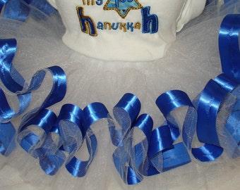 Royal blue ribbon trimmed white tulle tutu