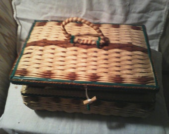 Vintage Music Box Sewing Basket. Filled.