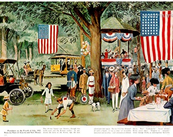 4th of July 1912, Independence Day Celebration Picnic, POSTER Print of 1950s Illustration