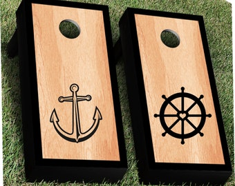 Nautical Cornhole Decal Set | Anchor CornHole Sticker | Wedding Cornhole Decal | Wedding Decal | Corn Hole Decal