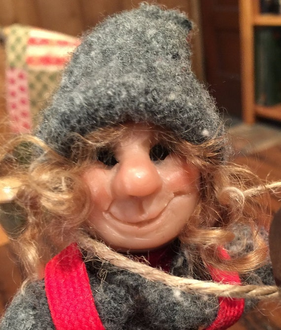 Scandanivian  Elf Skier,  Handmade sculpted face, Clothing hand sewn from wool fabric, D8