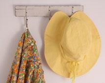 Vintage 1970s yellow cotton sun hat summer size 7 1/8 wide brim