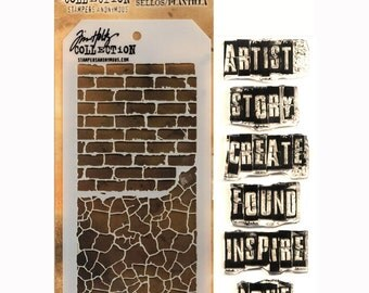 Tim Holtz Stamps and Stencils Set - INSPIRATIONAL Stampers anonymous  THMM102 1-cc02