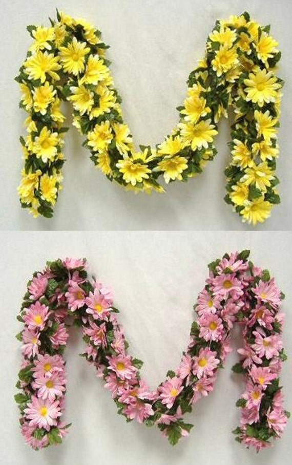 5 Foot Long Daisy Chain Garland Available In 4 Color