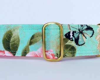 Roses and Butterfly martingale collar (dog collar, greyhound martingale, victorian, elegant)