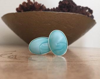 Blue Swirl Silver Oval Cufflinks