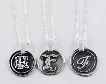 Letter F Initial Monogram Pendant Wedding gift Bridesmaid Gift Casual Jewelry Mom Necklace with Children's Initials