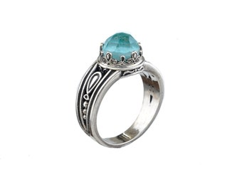amazonite ring in sterling silver