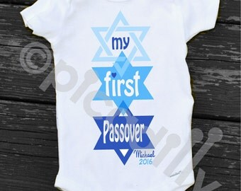 My First Passover Bodysuit Baby Girl My First Passover or Baby Boy My First Passover Bodysuit for Baby's First Passover in Pink or Blue