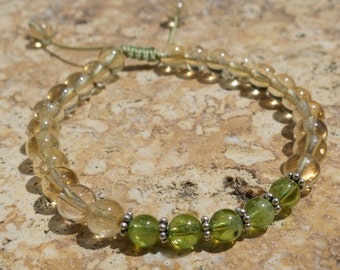 Peridot and Citrine 27 bead mala, Sterling silver spacers - Energise, Recharge, Regenerate - Adjustable wrist mala, yoga jewelry