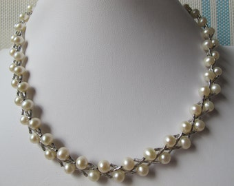 6-7mm White Potato Freshwater Pearl 925 Sterling Silver Necklace A205