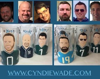 Groomsmen Portrait caricature Beer Mugs