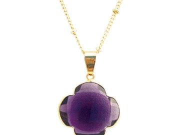 Natural Purple Amethyst  Quatrefoil Pendant