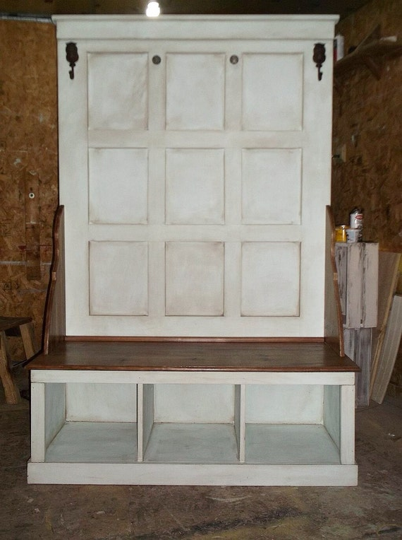 White Distressed Hall Tree Bench Entry Hall Tree By Sameasnever
