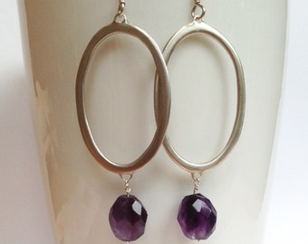 Silver hoop / oval dangly earrings with amethyst stone beads