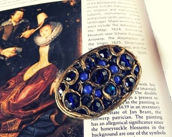 Blue costume jewelry Baroque inspired brooch READY TO SHIP