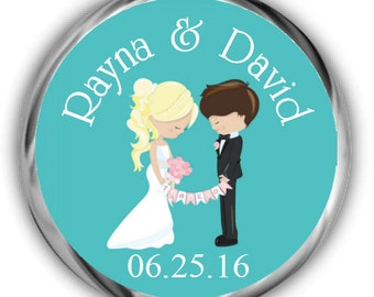 Couple Personalized Wedding Hershey Kisses Stickers - Wedding Favors
