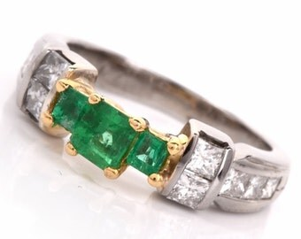 Three Emerald Ring in Bicolor 18K Mounting with Princess Cut Diamonds
