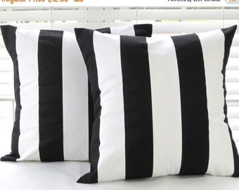 CLEARANCE Sale Pillow Cover, Outdoor Pillow, Pillow, Decorative Pillow, Decorative Throw Pillow, Beach Decor, Black And White Stripe Pillow,