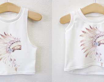 Headdress Tank for Babies and Toddlers in Blue and Blush