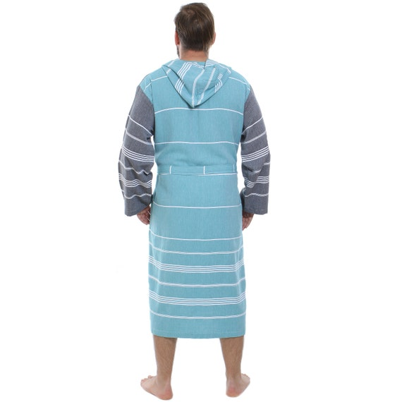 3abe382166 Naturals - Cacala Hooded Turkish Bathrobe - 100% Cotton Turkish Bath Towel  Fabric - Bright
