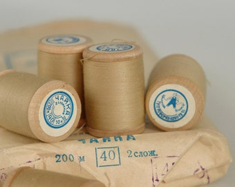 SALE -20% off, vintage thread spool, soviet spools, wooden spools, made in USSR, unused with labels, Scandinavian Fabric, beige