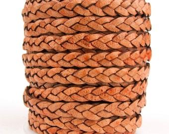 Tan Natural Dye Flat Braided Leather Cord 5mm 1 Yard