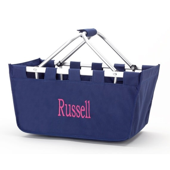 Navy Market tote picnic basket tote monogram basket tote personalized tote bag tailgate tote gameday bag college dorm shower caddy basket