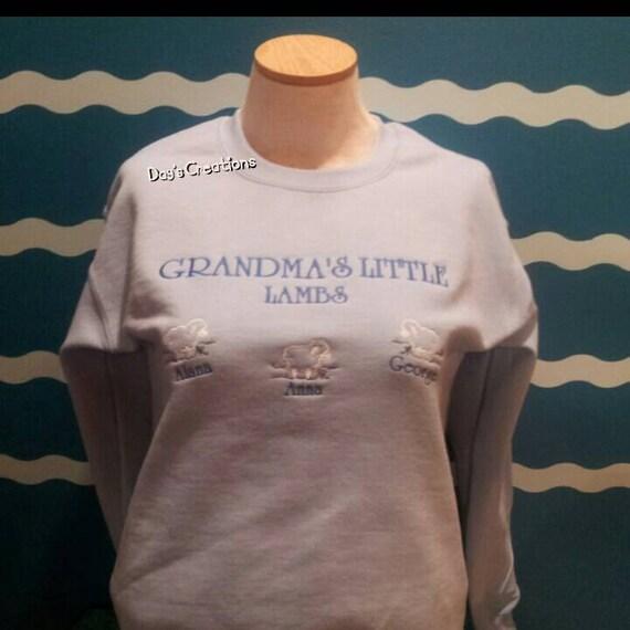 Custom Embroidered Grandparent's little lambs crew tshirt - Grandparent custom embroidered lamb tshirt