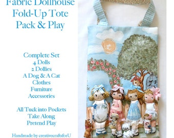 Aunt Lindy's Fabric Dollhouse Play Mat, Travel Tote, Pack & Play, Fabric 'Paper' Dolls, Clothes, Furniture  Pretend Play, Handmade, Gift