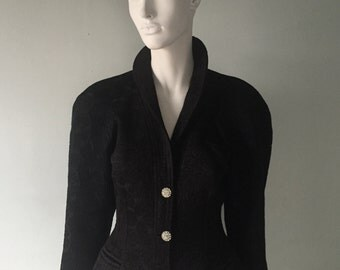 Beautiful Vintage 80's Brocade Fitted Jacket with Diamante Buttons, quilt stitching