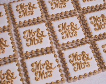 Mr and Mrs Wedding Cookies, Bridal Shower Cookie Favors, Engagement Party Favors, Decorated Sugar Cookies, Custom Text Cookies, Personalized