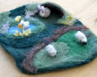 Mini Needle Felted Nature Playscape Playmat Waldorf inspired
