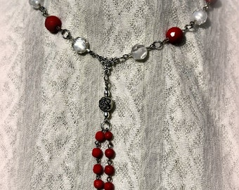 Red Rose Necklace, Victorian Inspired, Romantic, OOAK, Steam Punk
