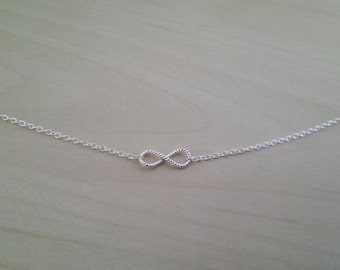 Delicate twisted infinity symbol .925 sterling silver necklace