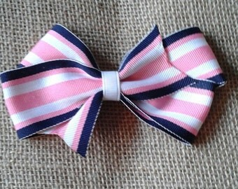 Simple pink white navy striped ribbon hairbow with white center