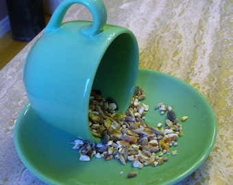 Minimalist , Up-Cycled, Re-Purposed, Hanging  Bird Feeder made with  Cup and Saucer.