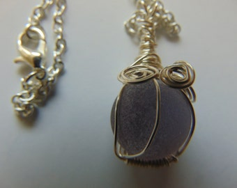 Seaglass Marble - Seaglass Jewelry-  Beachglass Jewelry - Beach Glass Pendant - Vintage Seaglass Necklace - Recycled Glassd
