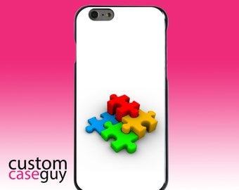 Hard Snap-On Case for Apple 5 5S SE 6 6S 7 Plus - CUSTOM Monogram - Any Colors - Red Blue Yellow 3D Puzzle Pieces
