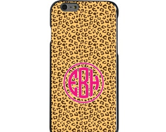 Hard Snap-On Case for Apple 5 5S SE 6 6S 7 Plus - CUSTOM Monogram - Any Colors - Cheetah Skin Spots Pink Name