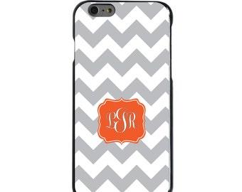 Hard Snap-On Case for Apple 5 5S SE 6 6S 7 Plus - CUSTOM Monogram - Any Colors - Grey White Chevron Orange Frame