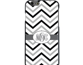 Hard Snap-On Case for Apple 5 5S SE 6 6S 7 Plus - CUSTOM Monogram - Any Colors - Black White Grey Chevron Stripes