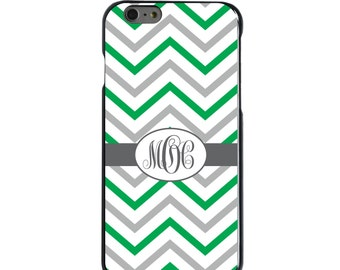 Hard Snap-On Case for Apple 5 5S SE 6 6S 7 Plus - CUSTOM Monogram - Any Colors - Green White Grey Chevron Stripes