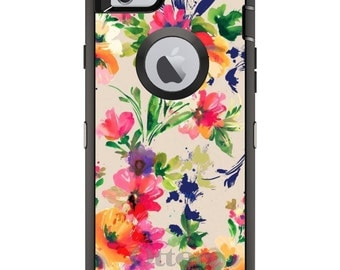 Floral OtterBox Defender / Apple iPhone OR Samsung Galaxy / Pink Purple Flowers / Custom Personalized Monogrammed / Any Color / Any Font