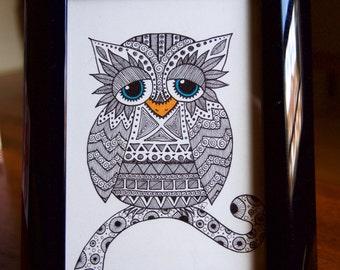 Blue Eyed Owl / Hand Drawn / Zentangle Art