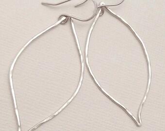 Silver Leaf Earrings, Handmade Earrings
