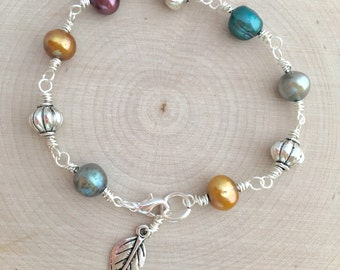 Pearl & Silver Bracelet, Jewel Tones, Freshwater Pearls, Wire Wrapped, Silver Beads