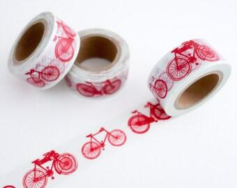 Red Bicycle Washi Tape - Masking Tape - Gift Wrap Tape - Retro Modern Washi Tape